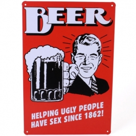 Blikken metalen wandbord Beer cartoon 1 20 x 30 cm