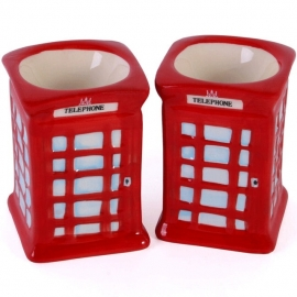 Egg cups British telephone boxes