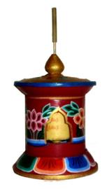 Tibetaanse houten gebedsmolen 18 cm hoog 9 cm doorsnee