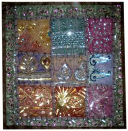 Indiase kussenhoes lapjesdessin met glitters donkerbruin