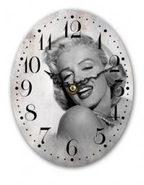 Houten klok ovaal Marilyn zwart wit - 19 cm hoog