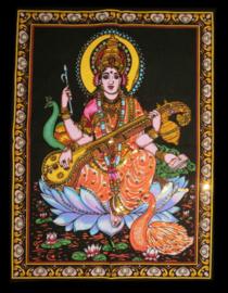 Indiase Hindu god wandkleed Saraswati 40 x 55 cm