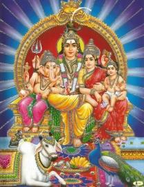Hindu poster Shiva Parvati Ganesha Kartikeya 2 - 23 x 29 cm