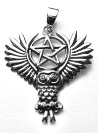 925 zilveren kettinghanger Flying Owl with Pentagram - dessin Lisa Parker 3 x 3 cm