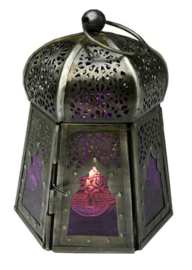 Lantaren paars glas - paddenstoelvormig - 12 x 9 cm