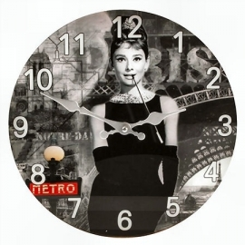 Glass clock Audrey Hepburn 30 cm Ø