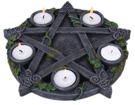 Wiccan Pentagram met klimop theelichthouder - 25.5 cm doorsnee