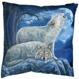 Gevulde kussen Huilende Wolven - dessin Lisa Parker - 40 x 40 cm