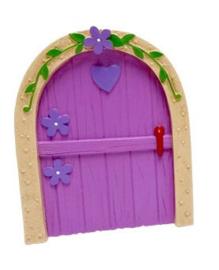 Fee deurtje roze met paars hart - 11 cm hoog