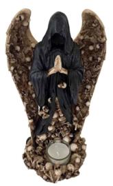 Magere Hein Theelichthouder met Doodskoppen en Vleugels 27.5 cm hoog