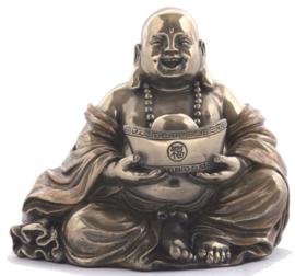 Bronskleurige Happy Boeddha goudklom in handen - 10 cm hoog