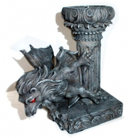 Gargoyle candle stick with red eyes 16 cm tall