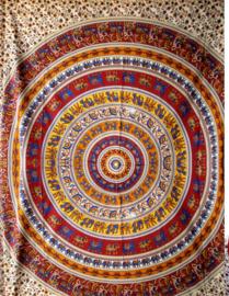 Bedsprei wandkleed grand foulard Indiase katoen olifanten mandala mostard bruin 220 x 240 cm