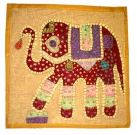 Indiase katoenen kussenhoes olifant mostaard - 40 x 40 cm