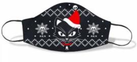 Alchemy England - Gezichtsmasker - Black Cat - Zwarte Kat met Kerstmuts