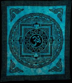 Bedsprei / wandkleed OHM in cirkel zwart turquoise 200 x 220 cm