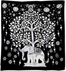 Bedsprei witte olifant en boom 220 x 210 cm