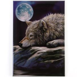 Wolf on rock - magneet van Lisa Parker