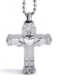 Crematie assieraad nekketting 316 roestvrije staal Claddagh Kruis zilver - 4.2 cm hoog