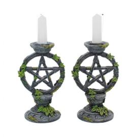 Wiccan Pentagram kandelaren - 15 cm hoog - paar