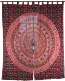 Gordijnen mandala rood paars - 230 x 100 cm