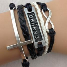 Zwarte leren en koord wraparmband infinity believe kruis
