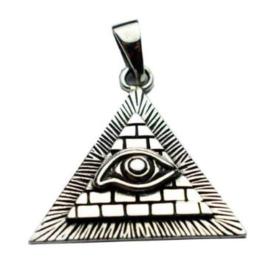 925 sterling zilveren kettinghanger Illuminatie Alziende Oog Boze Oog 3.5 cm hoog