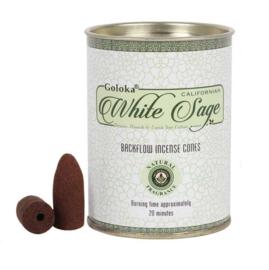 Goloka Witte Salie White Sage Backflow Wierookkegels - blik 9.5 cm hoog