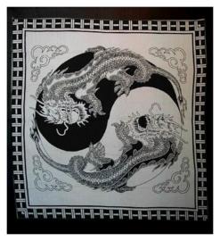 Bedsprei, wandkleed, grand foulard Yin Yang Feng Shui Chinese Draken Zwart Wit - 220 x 240 cm 2
