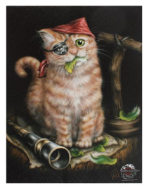 Pirate Kitten - canvas wandbord - Linda M Jones - 25 x 19 cm