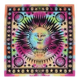 Wandkleed bedsprei tafelkleed vloerkleed tie dye zon en sterren - 150 x 150 cm
