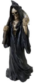 Death Wish - Magere Hein - Zwarte Santa Muerte - polystone beeld - 22 cm hoog