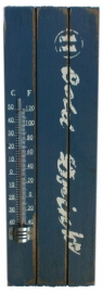 Houten thermometer Cold Drinks - 30 cm hoog - blauw