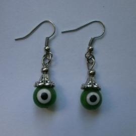 Boze oog oorbellen groen