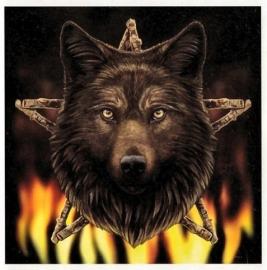 Wild Fire Wolf - wandbord Lisa Parker 28 x 28 cm