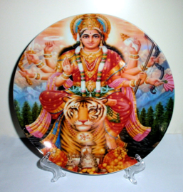 Sierbord met standje - Zittende Durga - 21 cm doorsnee