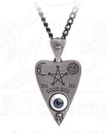 Alchemy Gothic pewter ketting Ouija Planchette met Boze Oog - 6,5 cm hoog