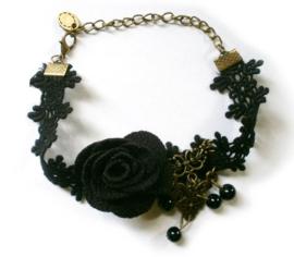 Gothic vintage kanten enkelketting zwarte roos
