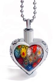 Crematie assieraad nekketting 316 roestvrije staal hart met gekleurde bloemen - 3.3 cm hoog