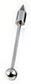 Tongpiercing zilveren staal met punt