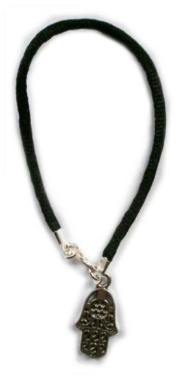 Black String Kabbalah bracelet with large Hamsa