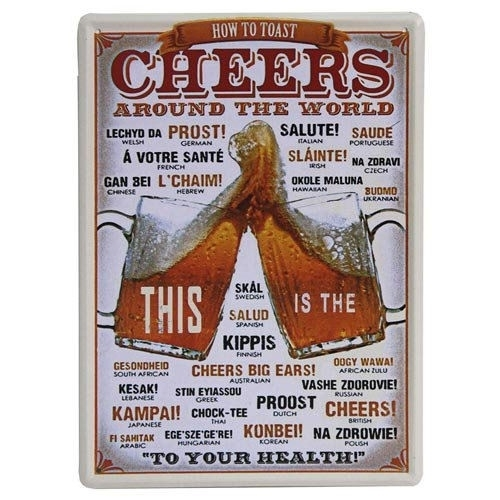Blikken metalen wandbord How to say Cheers - 20 x 30 cm