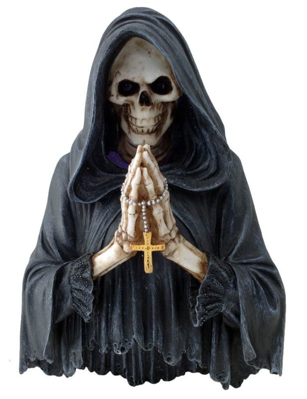 Final Prayer - wandplaat Magere Hein / Santa Muerte met led licht - 25 cm hoog