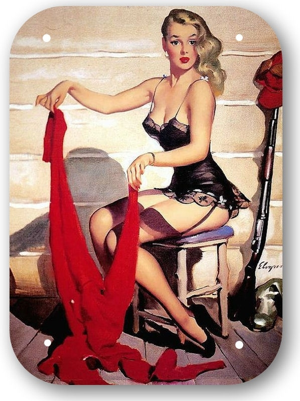 Blikken metalen wandbord Pinup Girl Gil Elvgren 15 x 20 cm meisje rode sjaal