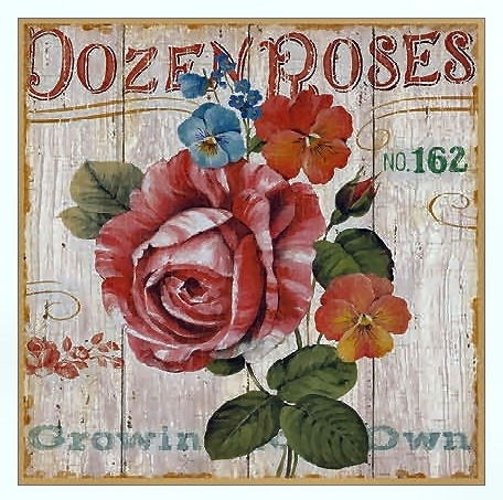 Metalen wandbord Roses - 20 x 20 cm