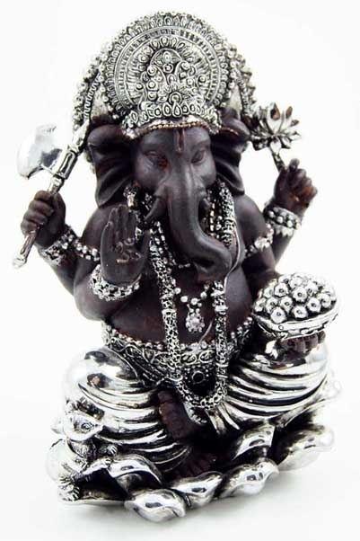 Ganesha zwart / zilver 11,5 cm hoog