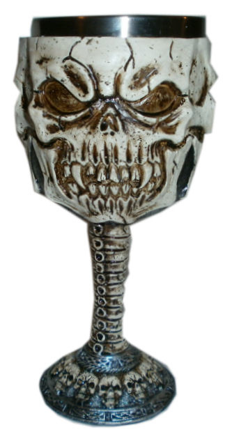 Gothic kelk met vampieren doodskop  - 17 cm hoog