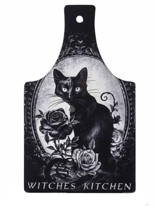 Alchemy of England keramieke snijplank onderzetter met kat met rozen opdruk - Cat's Kitchen - 28.6 cm hoog