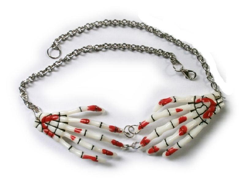 Harajuku skeletale handen nekketting rood wit