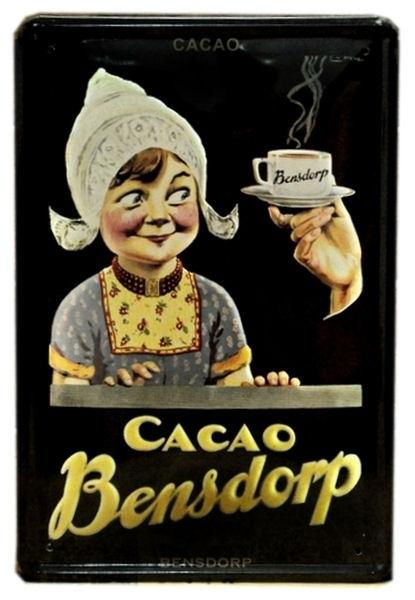 Blikken metalen wandbord Cacao Bensdorp 20 x 30 cm